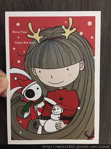好友Ling手繪聖誕明信片