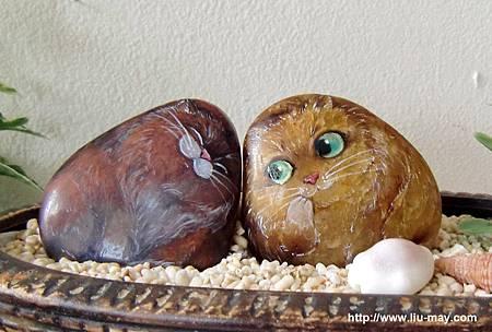 石頭彩繪03_20120304_1a兩隻貓