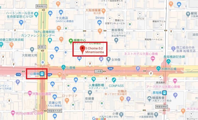 怪奇飯店 大阪心齋橋 地圖