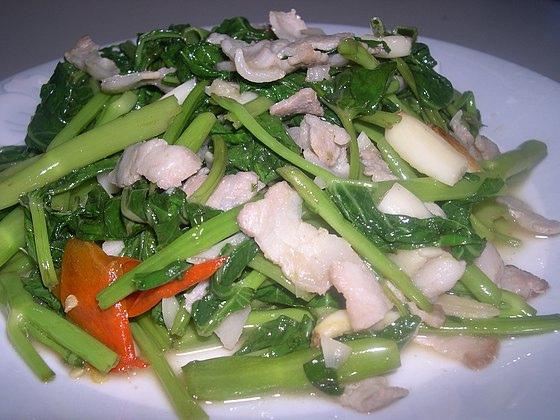 空心菜炒鹹豬肉