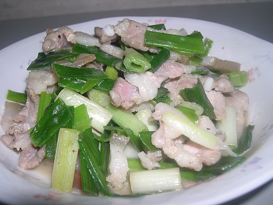 青蔥炒鹹豬肉