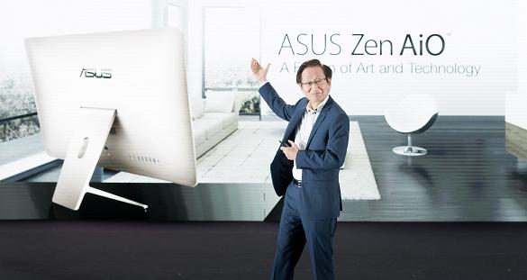 nEO_IMG_整體設計處處可見Zen美學精神的Zen AiO,螢幕下方飾條採用同心圓設計,內建3D攝影機搭配Intel RealSense技術,提供極具未來感...
