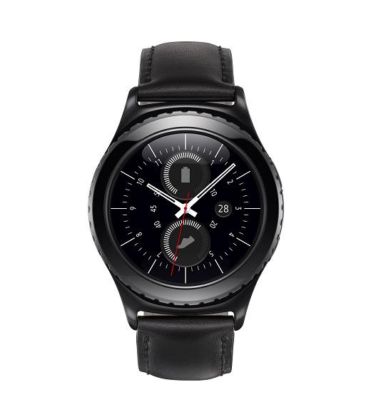 nEO_IMG_Gear S2 classic採用優雅的黑色飾面,搭配真皮錶帶,專為獨鍾經典錶款的人士而設計