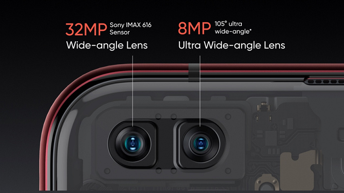 nEO_IMG_realme X50 Pro 5G前鏡頭配置3200萬主鏡頭與800萬105°超廣角鏡頭。.jpg
