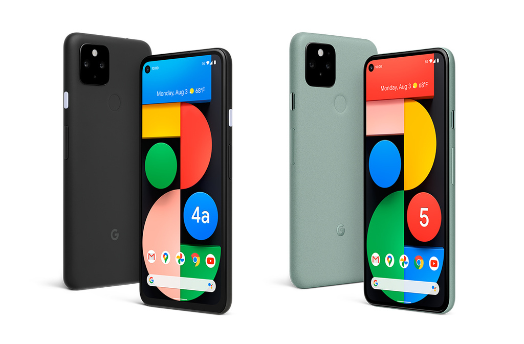 圖一:Google 10月1日發表首款  5G 手機 — Pixel 4a 5G 版 (圖左) 與 Pixel 5 (圖右).jpg