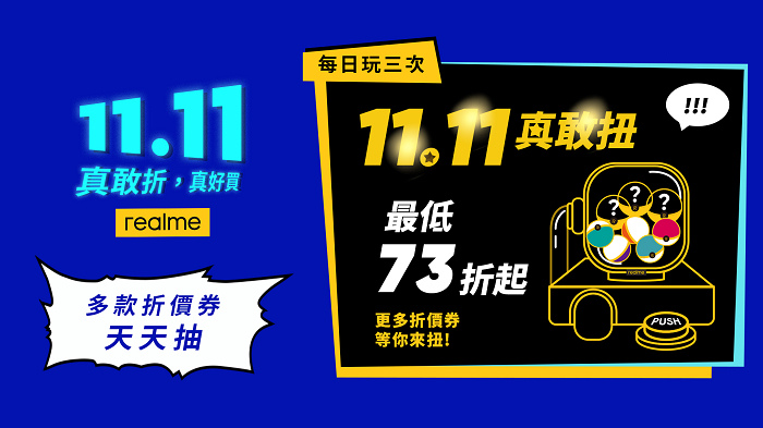 nEO_IMG_realme推出「真敢扭」扭蛋活動,最高可領73折商品折價券。.jpg