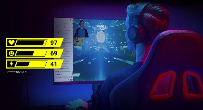 nEO_IMG_Garmin 「Instinct Esports 電競潮流版」可結合Garmin獨創STR3AMUP!電腦直播程式,即時將心率、壓力指數和身體能量指數顯示在直播畫面上,讓直播主與觀眾一同體驗殺敵快感.jpg