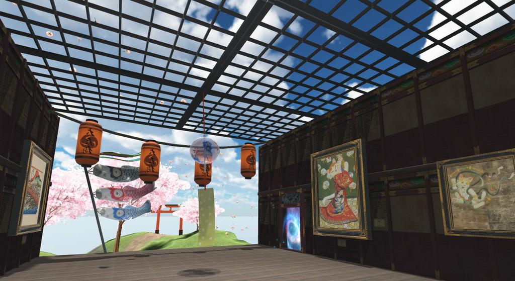 圖5.第四大展區「交流的貓藝術」以東洋喵畫為主題,戶外飄揚鯉魚旗、櫻花樹、鳥居景色,盡顯日式清雅。.jpg