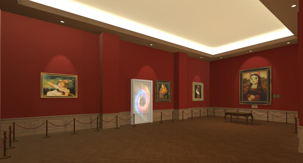 圖3.第二大展區-「古典肖像貓」以褚紅牆面配上柔和聚光燈,讓觀展者彷彿置身美術館中.jpg