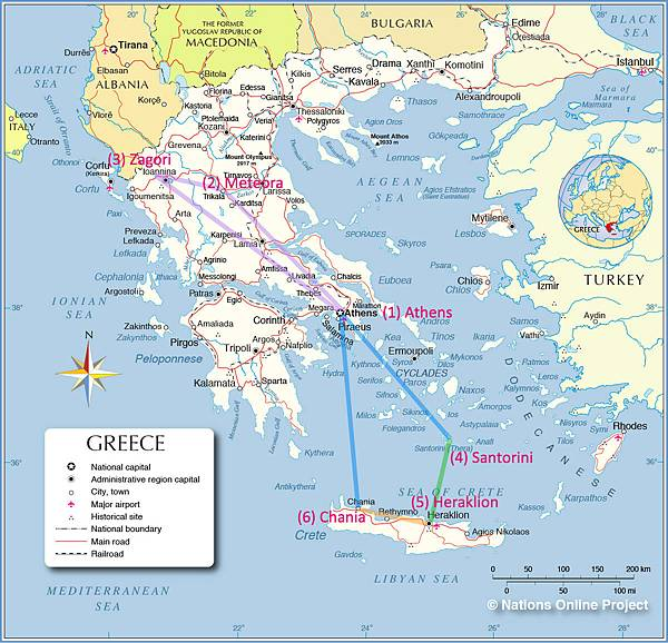 Greece Map-Itinerary
