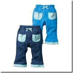 Nissen幼童可愛點點口袋長褲-藍系