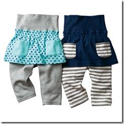Nissen幼童束腹假兩件褲裙兩件組-藍底點點 條紋