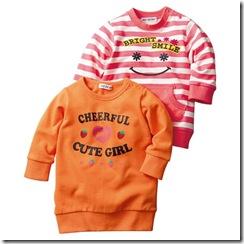 Nissen幼童微笑草莓長版上衣-粉紅條紋 橘