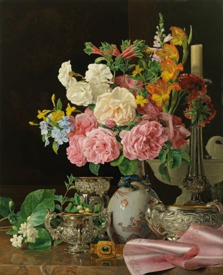 斐迪南.喬格.華德米勒《瓷瓶中的花與燭台及銀器》