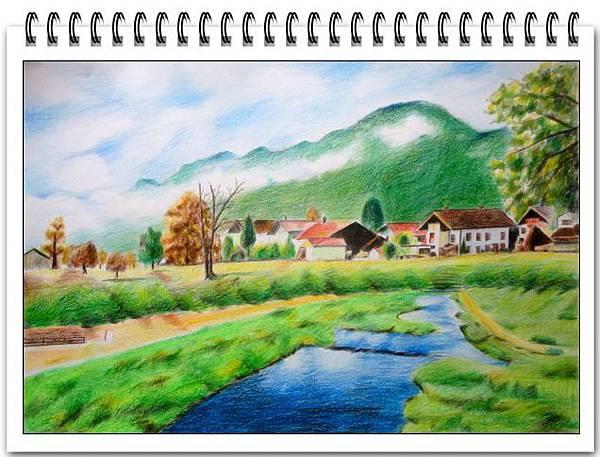 (21)色鉛筆--河岸森林農莊2-1.jpg
