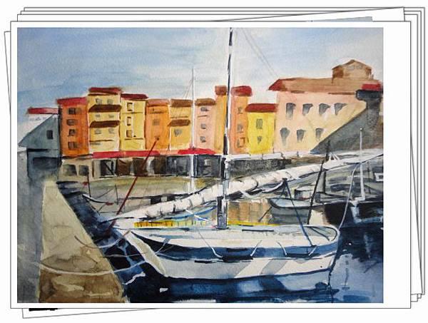 水彩--漁港