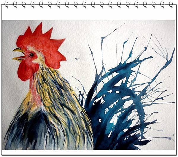 (30)水彩吹畫--公雞2-1