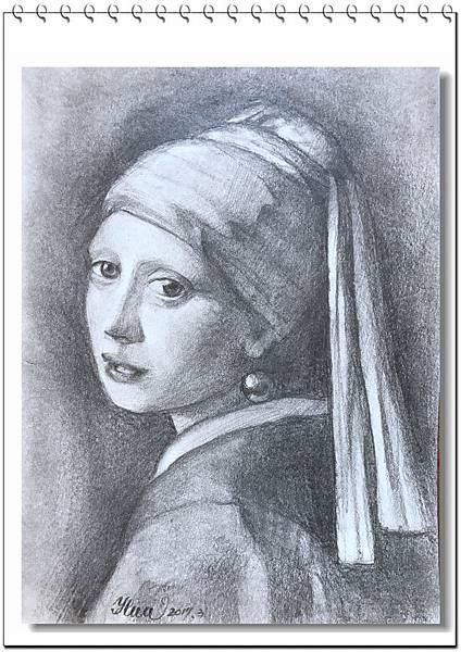 (9)鉛筆素描-戴珍珠耳環的少女2-1.jpg