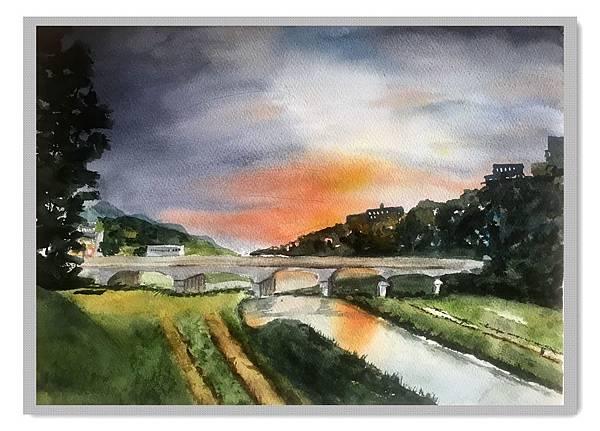 (88)水彩--鴨川日暮2-2.jpg