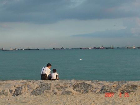 96過年於新加坡和爺爺一塊看海