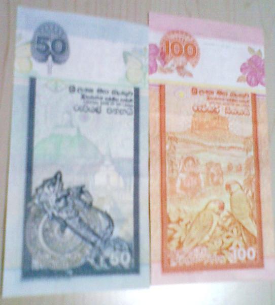 我的斯里蘭卡$$,100元.50元的反面..