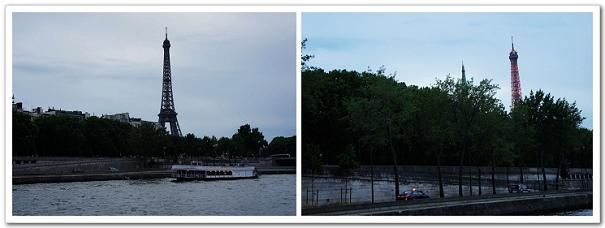 195-經過一陣買票、排隊,我們大概在九點半搭上蒼蠅船了,還沒上船前的巴黎鐵塔,跟上船後點了紅燈的鐵塔,點了燈,就表示天色漸漸暗下來囉!