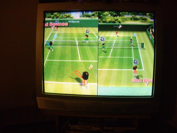 玩wii tennis