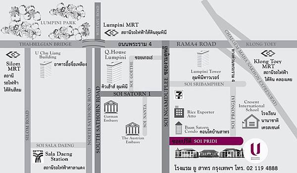 U SATHORN Bangkok map ENG&TH