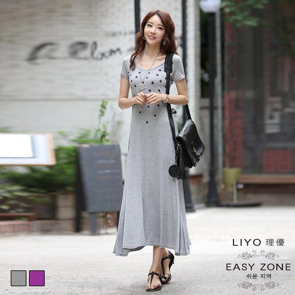 LIYO理優洋裝正韓星星鉚釘印花長洋裝356.jpg