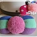 C10B01-三色粉毛球蝴蝶結釦飾