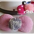 C10B03-灰毛球粉蝴蝶結釦飾