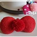 C10B06-紅毛球紅蝴蝶結釦飾