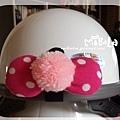 C10B10-粉毛球桃色白點蝴蝶結釦飾