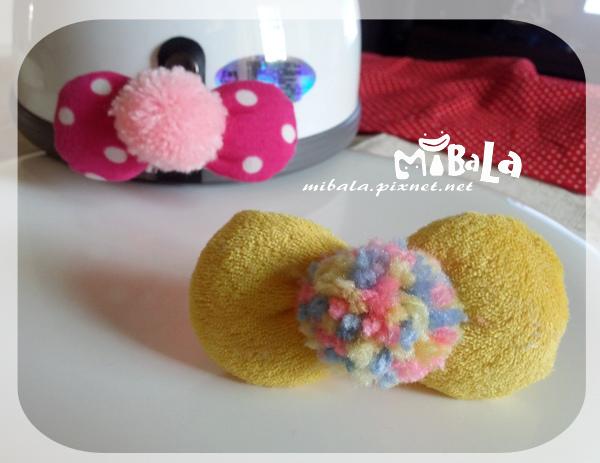 C10B14-彩毛球黃蝴蝶結釦飾