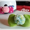 C10B15-粉彩毛球綠蝴蝶結釦飾