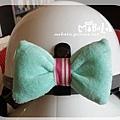 C10B20-水湖藍蝴蝶結釦飾