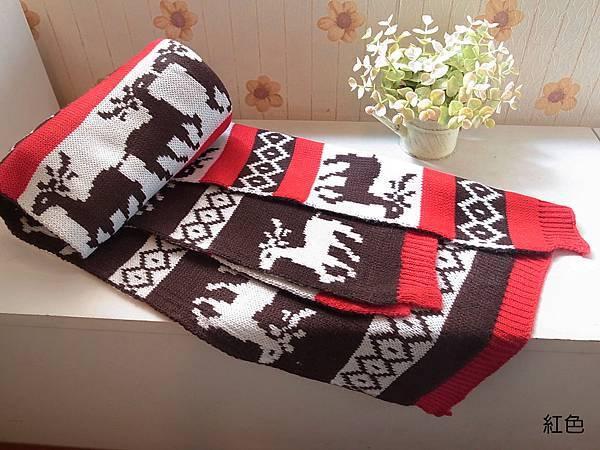 可愛麋鹿暖暖圍巾(紅色款)