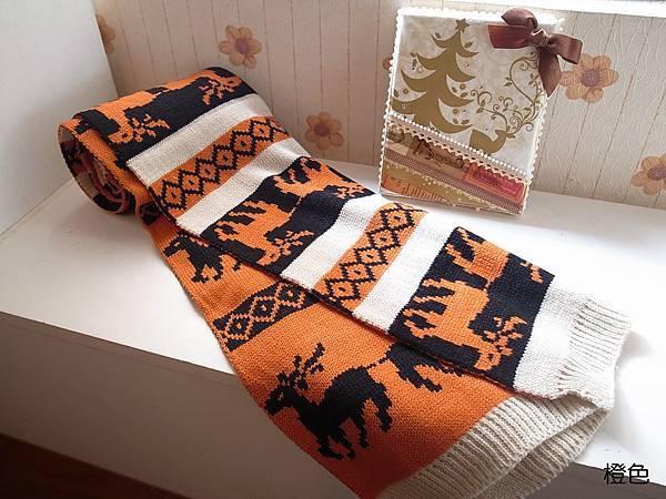 可愛麋鹿暖暖圍巾(橙色款)