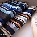 文青風男孩 LOOK 條紋圍巾(文青藍、陽光橙)