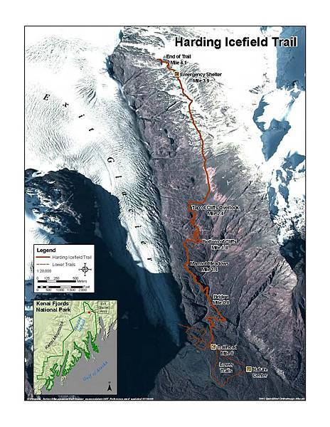 Harding icefield map