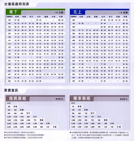 台灣高鐵時刻表及票價資訊