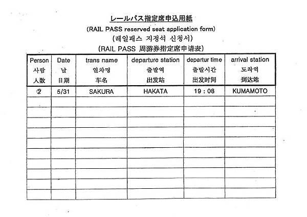 JR指定席申請表