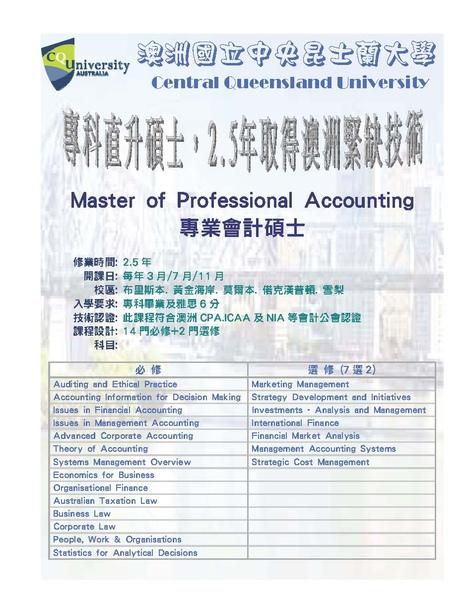 CQU master of accounting