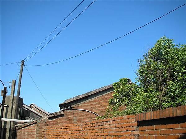 藍天高高在上,紅磚瓦顯得很沉穩