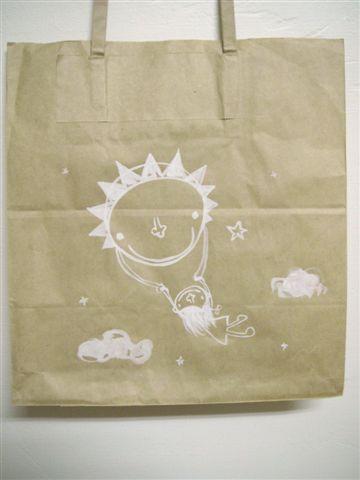 紙袋當畫布  太陽女孩飛