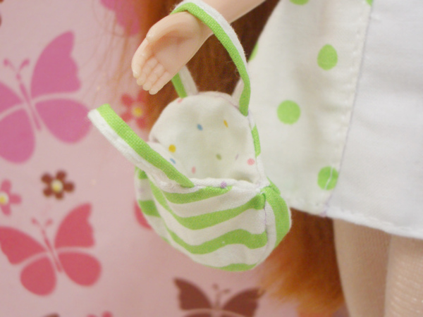 小布點拼接洋裝綠色款小扁包2