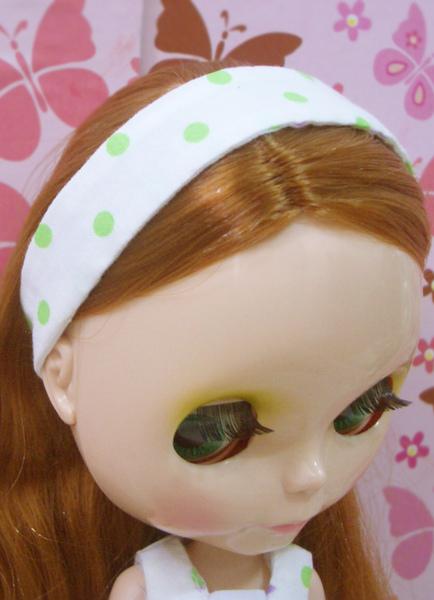 小布點拼接洋裝髮帶綠色款1.