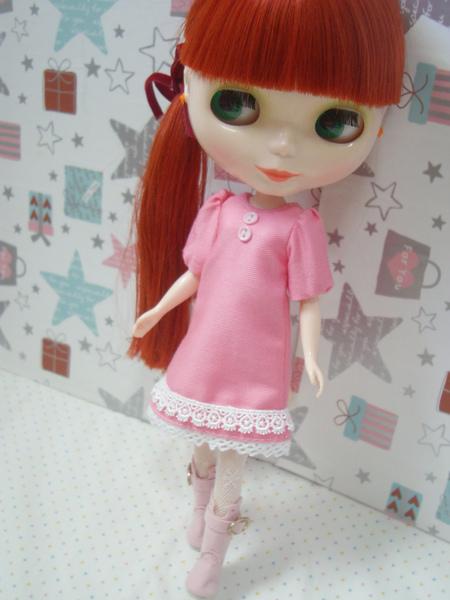 蜜桃粉色連身裙1