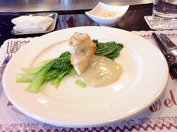 季節青菜、鮭魚