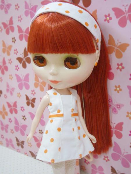 小布點拼接洋裝橘色款4